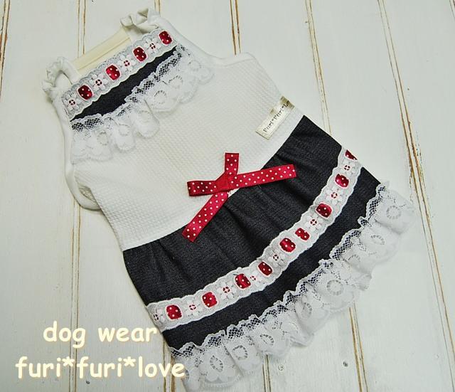 犬服:ドットリボンワンピ